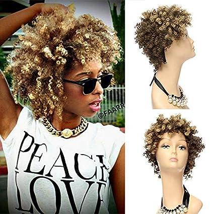 Peluca de pelo sintético Royalvirgin Afro Kinky rizado, pelo sintético afro, pelucas con mezcla