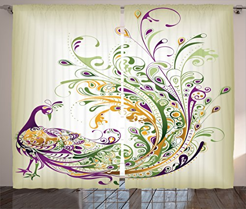 Ambesonne Abstract Home Decor Collection, Peacock Bird Tail Feather Plume Paisley Pattern Ornamental Decoration Image, Living Room Bedroom Curtain 2 Panels Set, 108X90 Inches, Purple Green Mustard