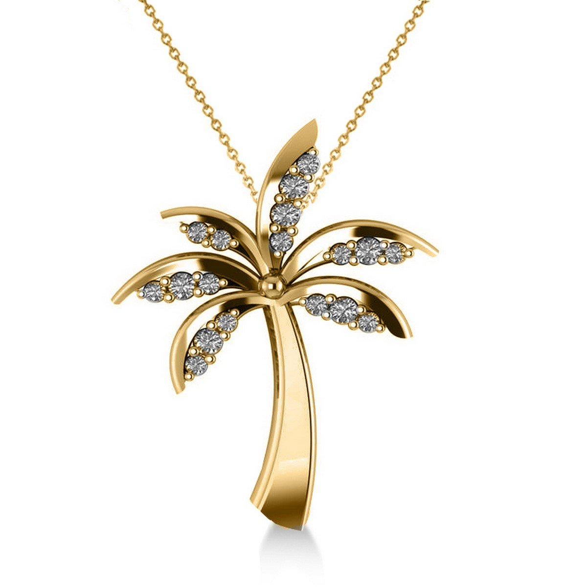 Allurez Diamond Tropical Summer Palm Tree Pendant Necklace in 14k Yellow Gold (0.24ct)