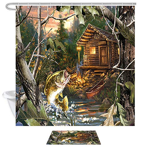JAWO Farmhouse Shower Curtain Set, Bass Fish with Wooden House Oil Painting Shower Curtain Fabric with Bath Mat,Waterproof Bathroom Set with Rugs,69 x 70 Inch (Fish Bath Mats Rugs &)