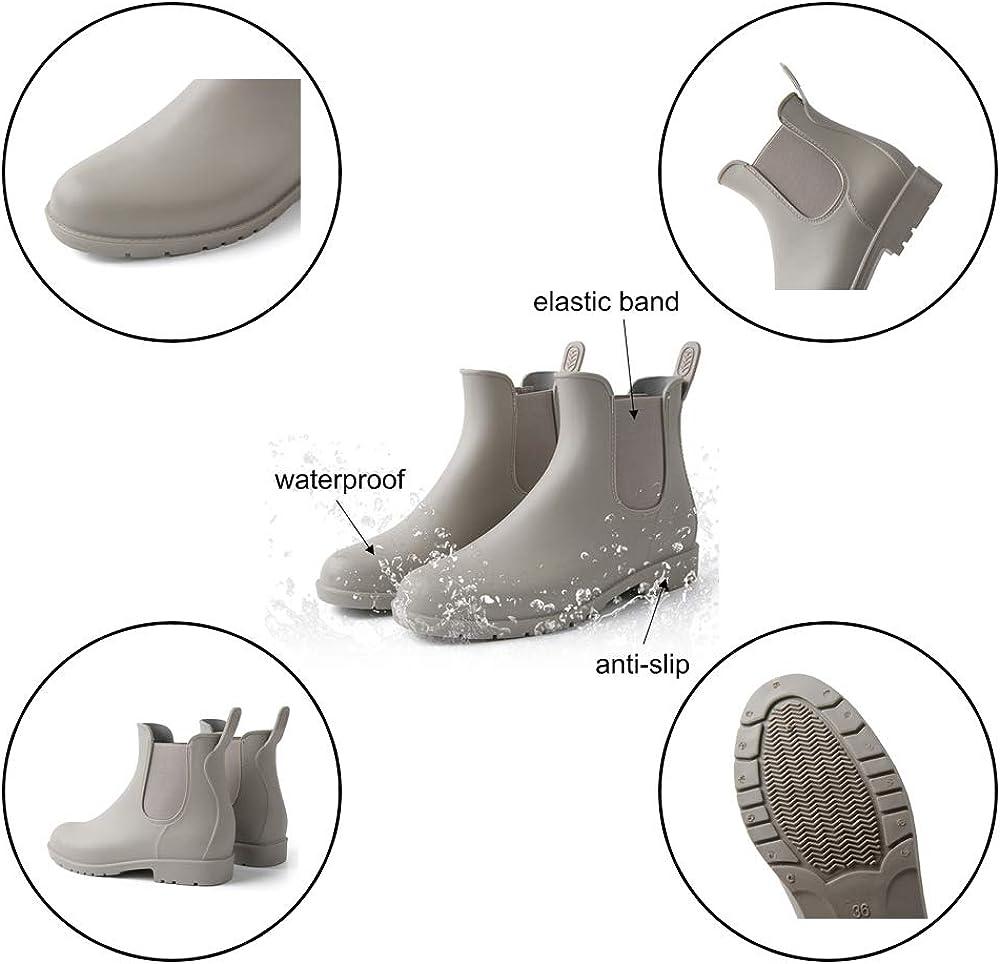 Bottes Caoutchouc Femme Bottines De Pluie Chelsea Muck Boots Imperm/éable Antid/érapant Jardin Talon Plat Slip on Noires Marron Gris 35-43 EU