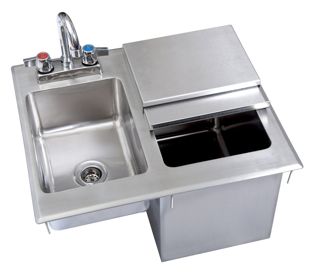 BK Resources BK-DIBHL-2118 Stainless Steel 1-Compartment Drop In Ice Bin with Lid & Sink with 4'' Deck Mount Lead Free Faucet 21''L (Left to right) x 18''W (Front to Back) x 12'' H (Base to top)