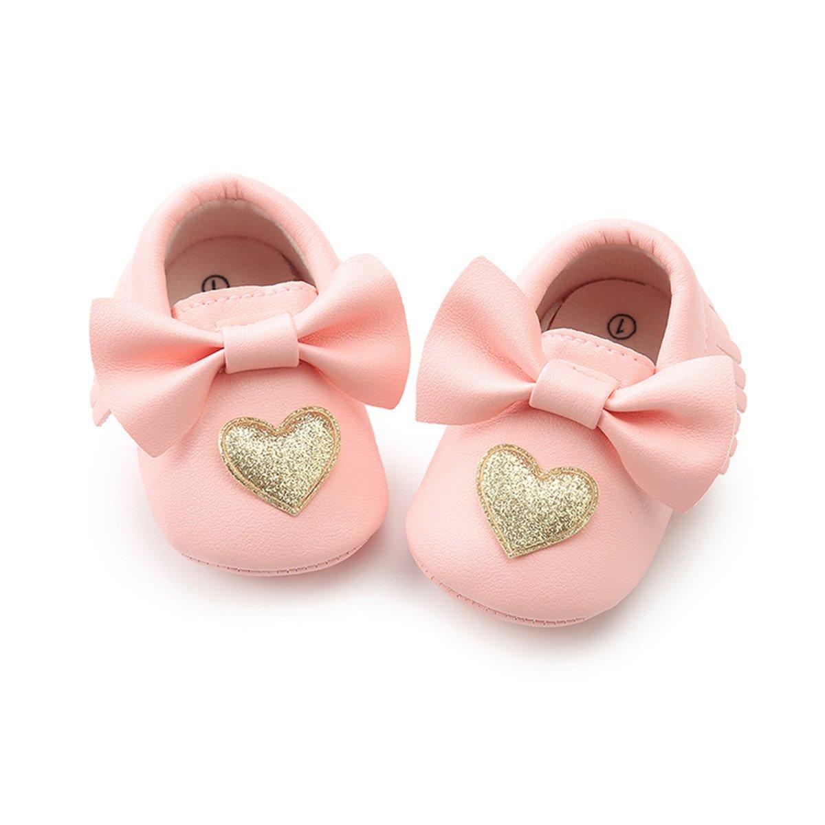 C/&H Baby Boys Girls Soft Soled Tassel/Bowknots Crib Infant Toddler Prewalker Moccasins Shoes 5107