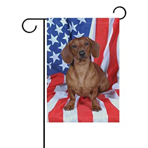 ALAZA Cute Dachshund with American Flag Polyester Garden Flag House Banner 12 x 18 inch, Two Sided Welcome Yard Decoration Flag for Wedding Party Home Decor