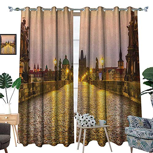(Warm Family Landscape Waterproof Window Curtain Charles Bridge Old Town in Prague Czech Republic with Classic Medieval Buildings Blackout Draperies for Bedroom W96 x L84 Gold Brown)