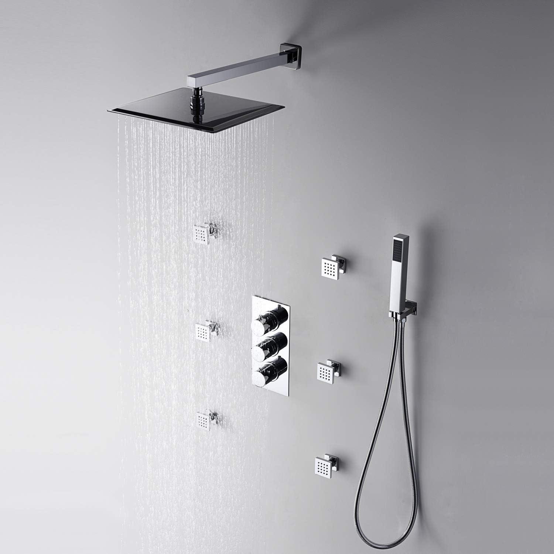 12Inch Square Thermostatic Wall Mount Shower Faucet Three Handles Rainfall Shower Mixer Shower Body Massage Jet Bathroom Lavatory Shower System Rain Shower Set