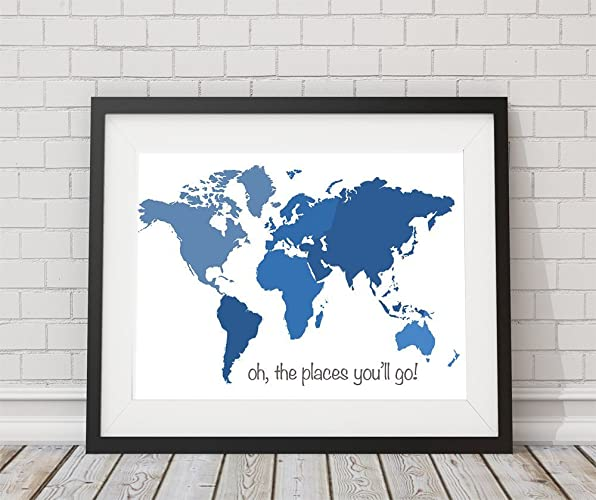 Amazon world map print oh the places youll go boy nursery world map print quotoh the places youll goquot boy nursery 8x10 gumiabroncs Images
