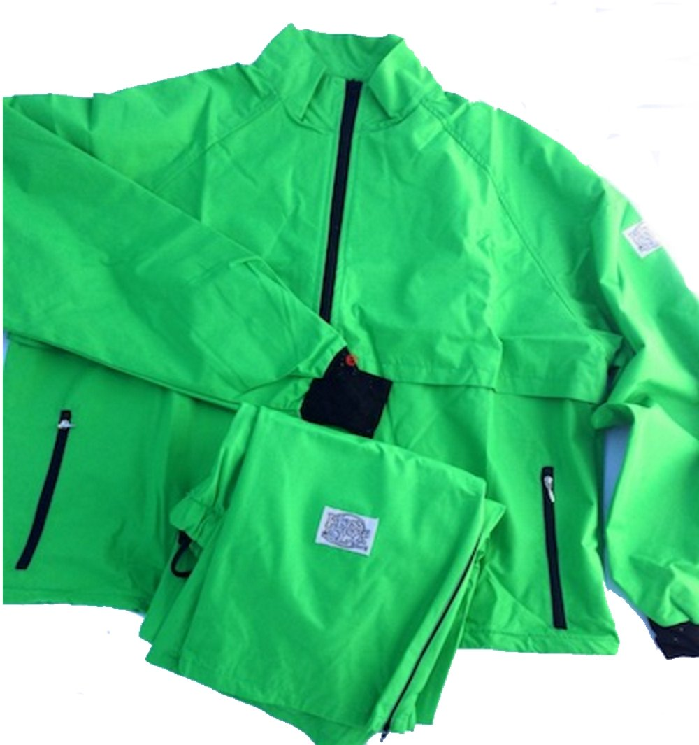 Moss Brown & Co. Bright Colors, 2-Layer Moss-TEX Waterproof, Breathable, Big & Tall Track Suits. Grass Green - XX by Moss Brown & Co.