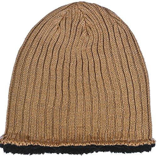 Polar Wear Sherpa Fleece Lined Knit Beanie Men's Hat in 3 Colors (Khaki)