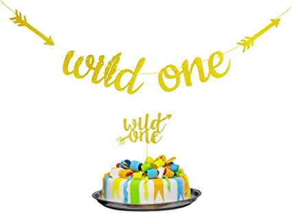 WILD ONE Banner and cake Topper GOLD