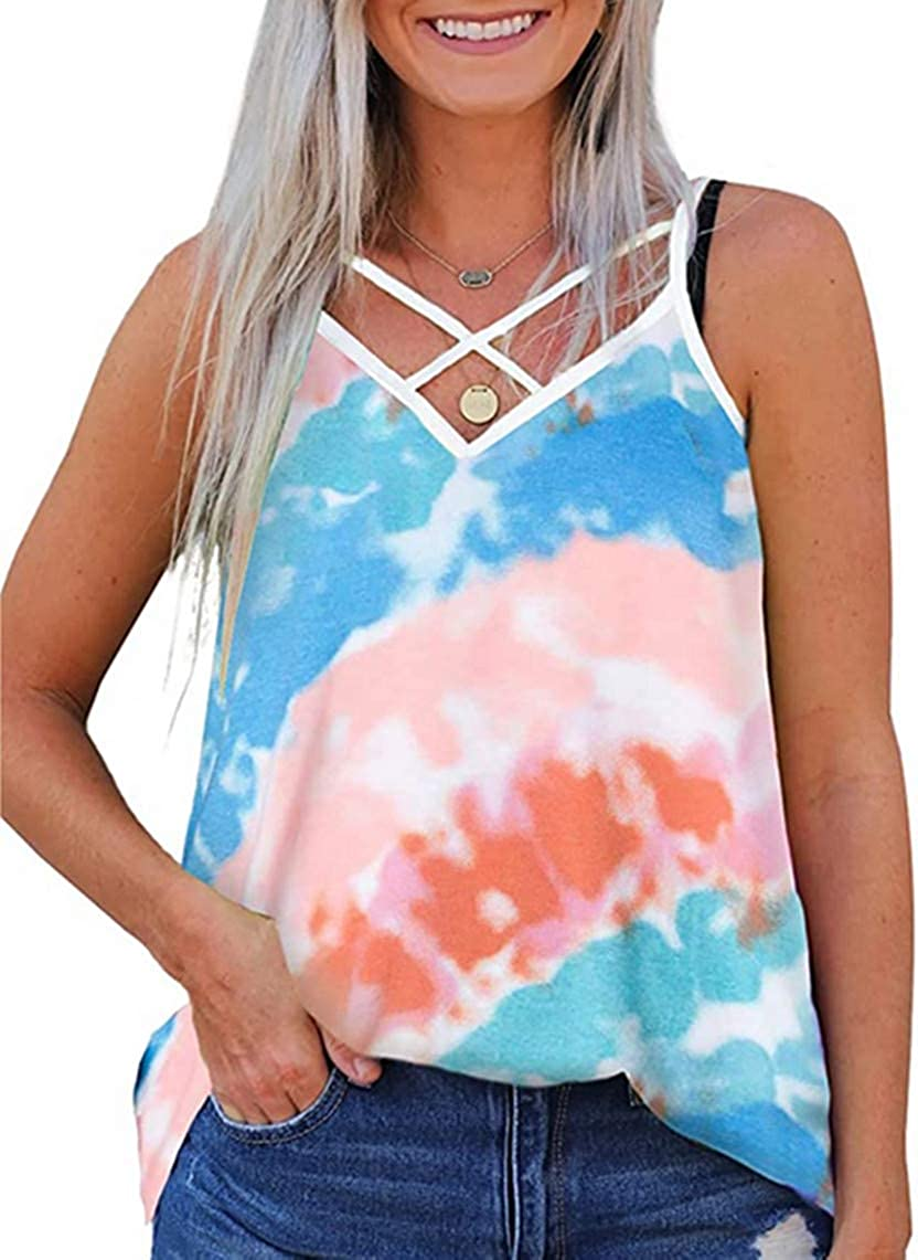 Women Tank Tops Tie Dye Floral Printed Strappy Sleeveless Loose Casual Tunic Blouse