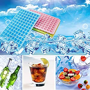 Mziart Easy Release Mini Ice Cube Trays, 96 Diamond Shaped Cubes Maker, Stackable (Pack of 4)