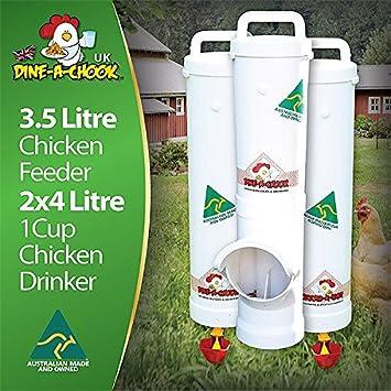 Alimentador de comer un pollo Chook, 3,5 l y 2 x 4 L bebedores de una taza: Amazon.es: Productos para mascotas