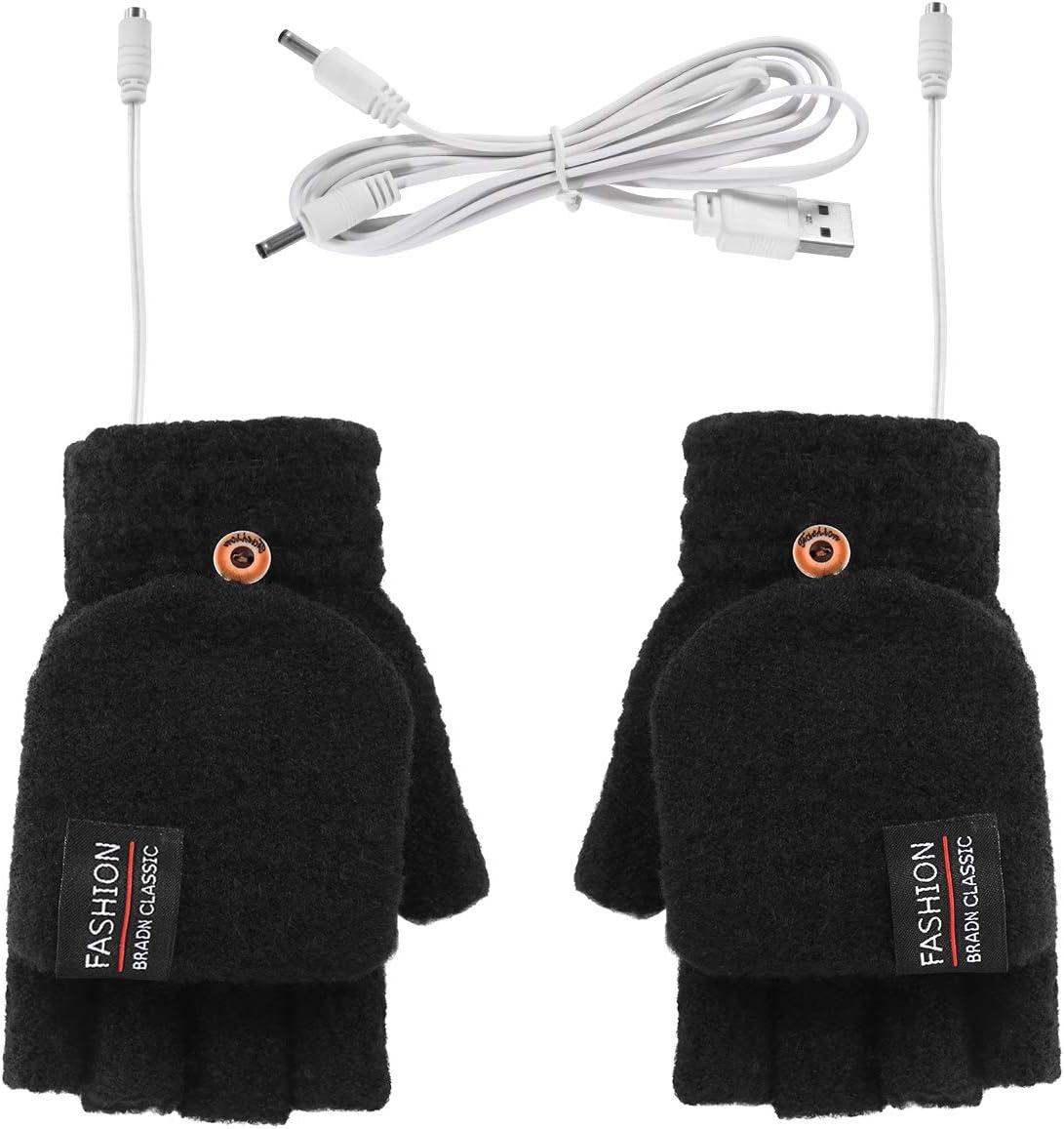 ROSEBEAR Guantes de Calentamiento USB para Mujeres Hombres Unisex Medio Y Dedos Completos Guantes Calientes Guantes de Invierno Calentador de Manos