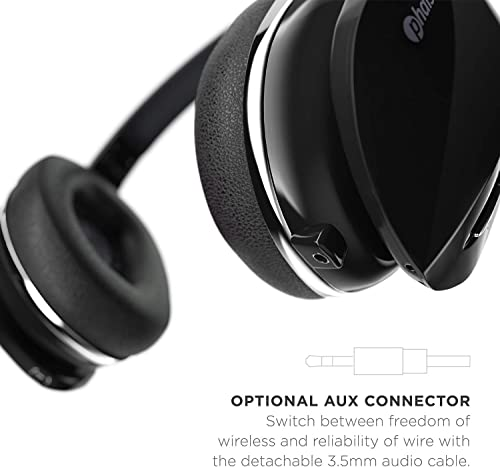 Phaiser BHS-630 Bluetooth Headphones HiFi Stereo Wireless On Ear Deep Bass Headset w Noise Canceling Microphone 15 Hour Playtime Comfortable Earpads for Travel Work TV