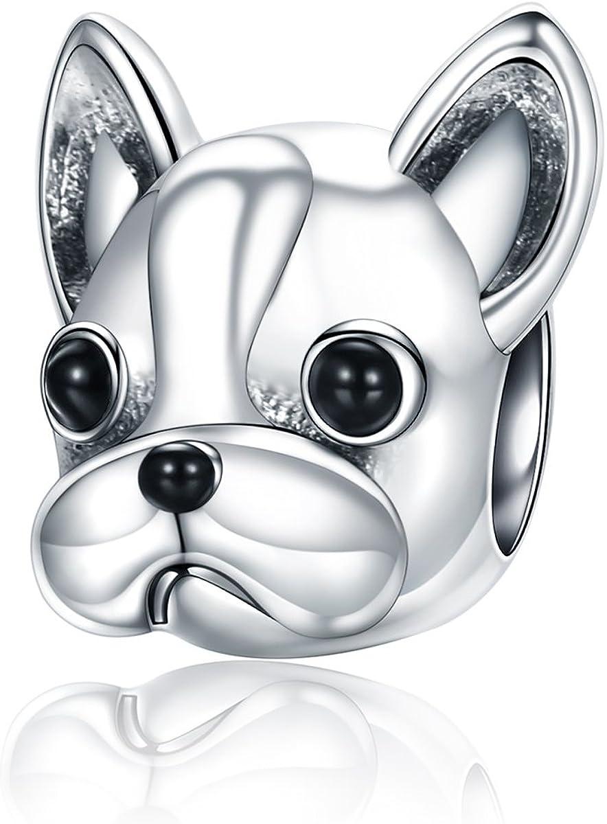 Abalorio para colgar de perrito «You & Me», hecho de plata de ley 925 para pulseras, compatible con pulseras europeas