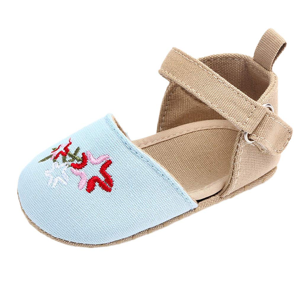 NUWFOR Cute Baby Girls Newborn Infant Cartoon Floral Casual First Walker Toddler Shoes(Blue,0-3Months)