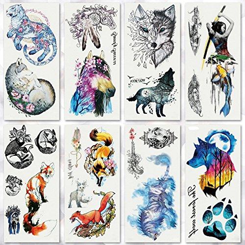 (Leoars 8 Sheets Waterproof Temporary Tattoo Forest Wolf Fox Tattoos Flash Tattoo Sticker for Kids Men Women Makeup Body Art Fake Tattoo)