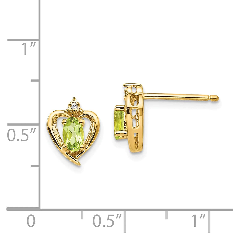 14K Yellow Gold Diamond /& Peridot August Stone Heart Post Earrings