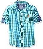Image of U.S. Polo Assn. Boys' Toddler Boys' Long Sleeve Single Pocket Sport Shirt, Soft Tropical Teal, 2T