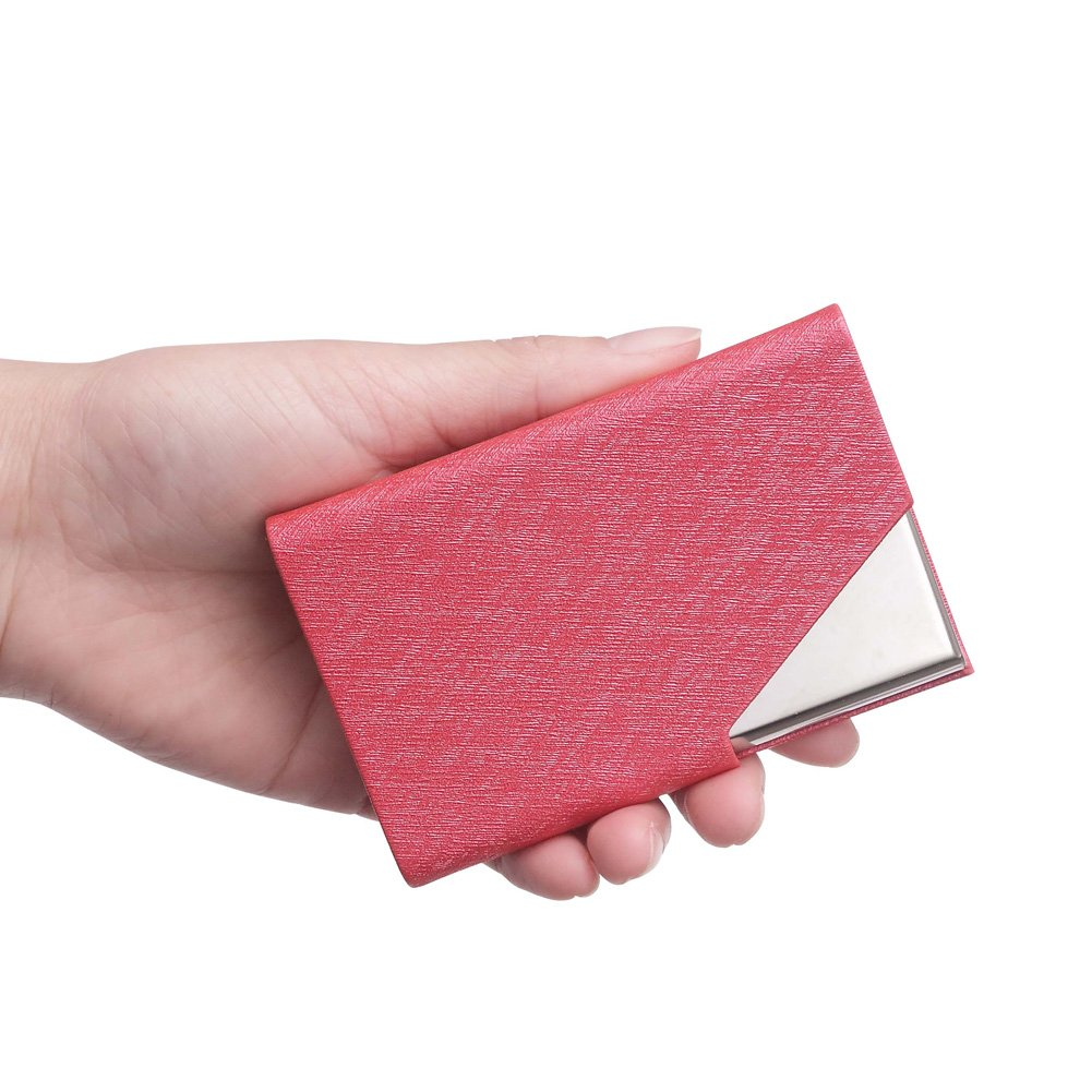 Teemzone Generic Leather and Stainless Steel Business Name Card Case Holder (Rose)
