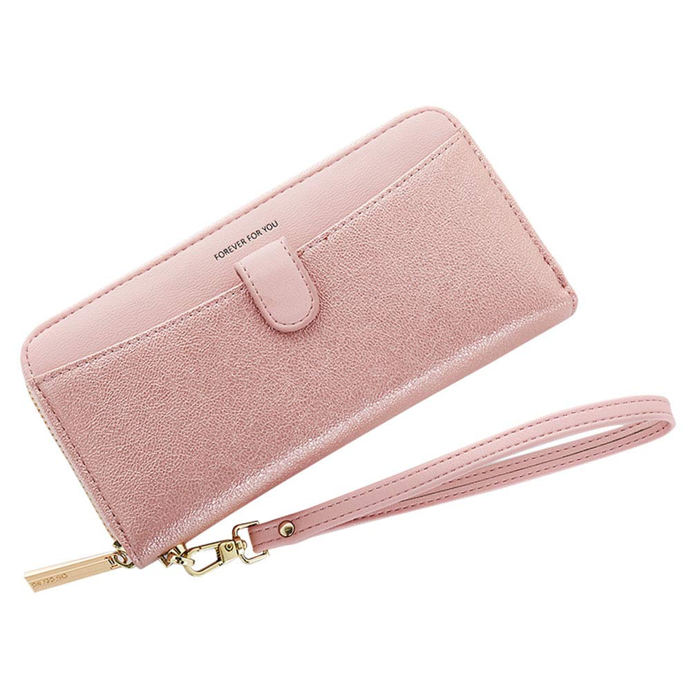 Cyanb Women Bifold Clutch Wallets Iphone Wristlet Purses for Women Lady with Zipper and Wrist Strap Pink