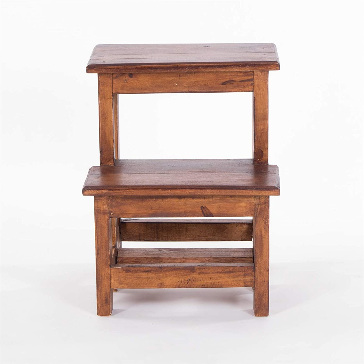 DESIGN DELIGHTS STEPLADDER STEP | 46x37x37 cm (HxWxD), recycled wood | two-stage tread stool, Kids step stool | Colour: 02 light-brown 02 Light-brown