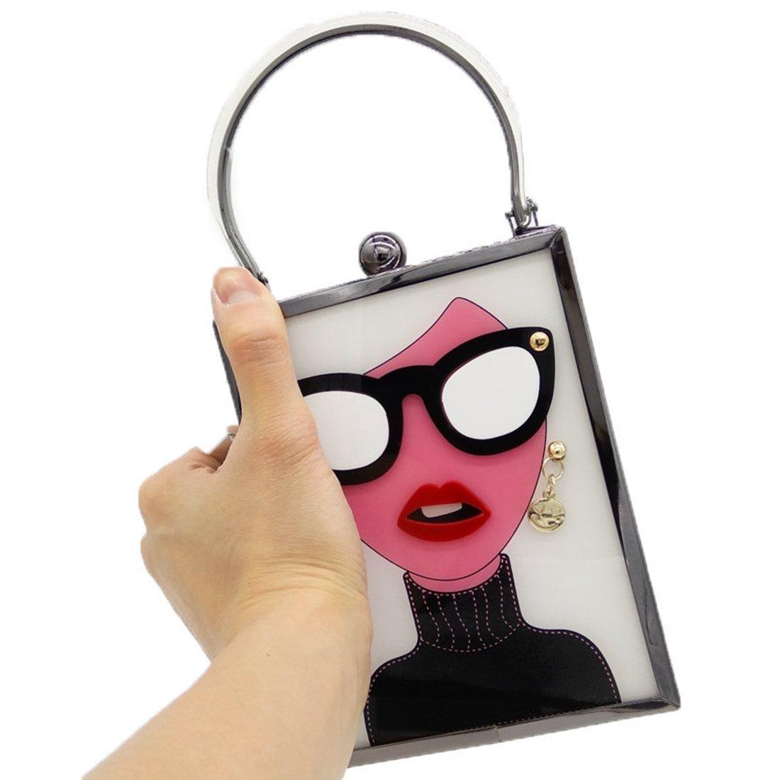 KERVINJESSIE Women Fashion Acrylic Evening Purse Glasses Girls Chain Clutch Vintage Party Crossbody Bag (Color : White)