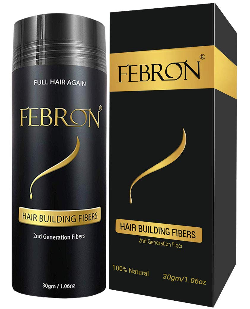 FEBRON Hair Building Fibers BIG Bottle 30gm (1.06oz)- Hair Loss Concealer & Cover Bald Spots For Thinning Hair For Men & Women (Black)