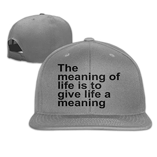Amazon.com  Cookisn The Meaning of Life is to Give Life A Meaning Flat  Visor Baseball Cap - Designed Snapback Hat - 8 Colors  Clothing 28d92f08042