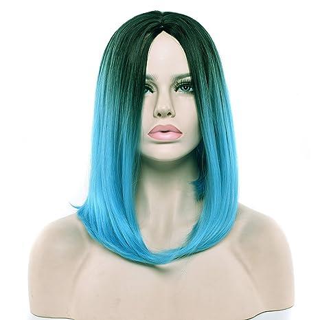 Quibine peluca sintética femenina Bob corto recto Cheveaux Ombre pelucas gradiente negro a azul