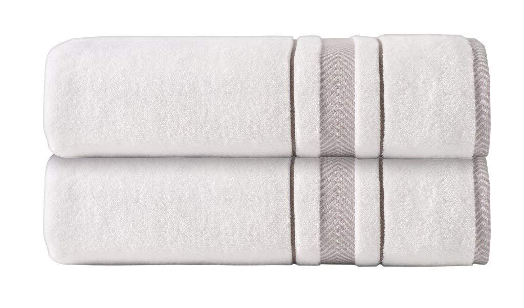 Enchante Home 2-Pack Luxury Plush Soft Bath Sheet Towel Set for Home & Spa - 100% Turkish Quality Cotton, Absorbent - Jacquard Enchasoft Design (Cream)