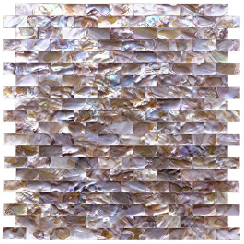 Art3d Natural Mother of Pearl Oyster Mini Brick Shell Mosaic Tile for Kitchen Backsplashes 10 Sq Ft Pack of 10 by Art3d