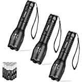 Linkax LED Torch Tactical Flashlight 3 Pack Super Bright Handheld Flashlights 5 Modes Pocket Torch for Camping,Hiking and Outdoor(9 x AAA Batteries Included)