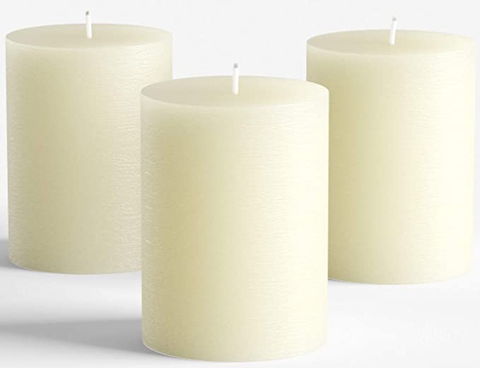 "Set of 3 Ivory Pillar Candles 3"" x 4"" Rustic Unscented Dripless for Weddings Home Decoration"