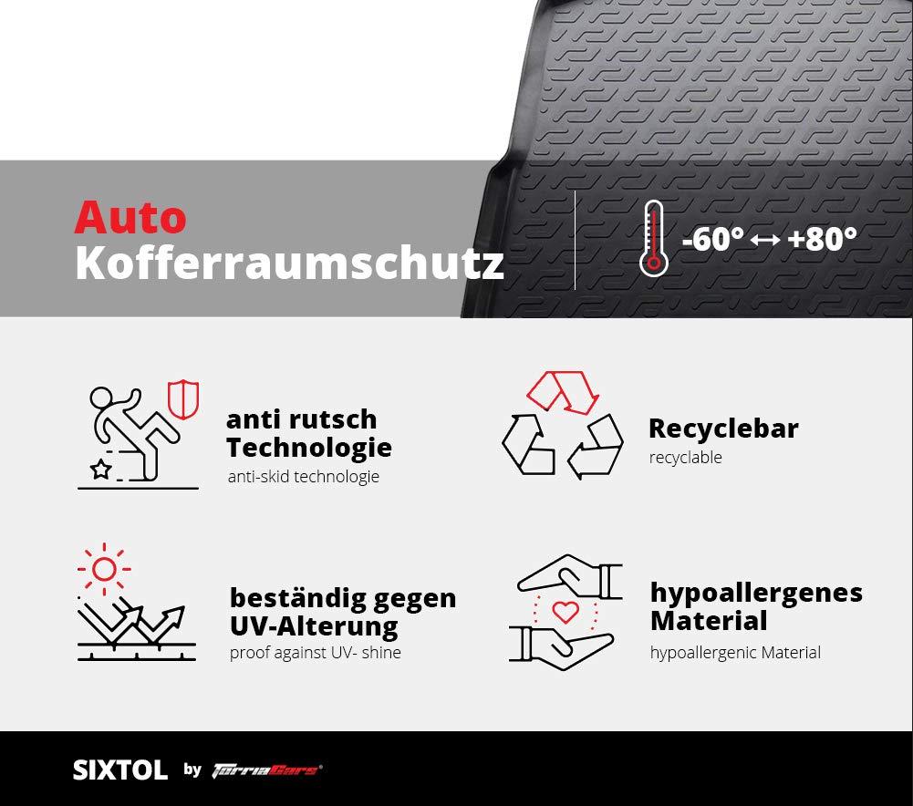 Protezione del Bagagliaio per l/'Automobile Volkswagen Touran I SIXTOL Vasca Anti-Scivolo e su Misura progettata per Il Trasporto Sicuro di Spesa,Bagagli e Animali Domestici 2003-2015 II