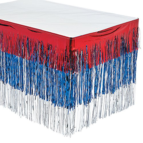 Fun Express - Patriotic Fringe Tableskirt for Fourth of July - Party Supplies - Table Covers - Table Skirts - Fourth of July - 1 Piece