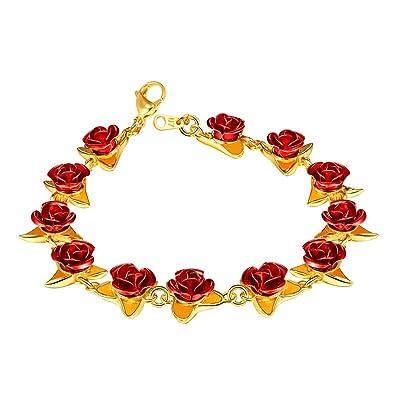 U7 Bracele Femme Fleur Rose Gourmette Plaqué Or Bijoux Fantaisie pour Jaune  Fille 19cm de Long