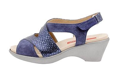 Auténtico Para Niza en línea Calzado Mujer Confort de Piel Piesanto 8861 Sandalia Cuña Plantilla Extraíble Cómodo Ancho QGhL1fwk