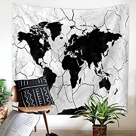Zhh world map tapestry black and white map wall hanging modern zhh world map tapestry black and white map wall hanging modern decorative bohemian wall hangings hippie gumiabroncs Choice Image