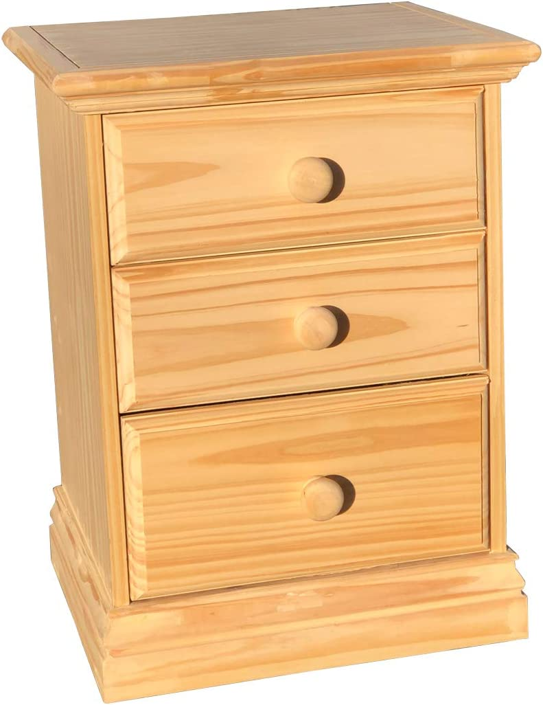 3 Drawer Nightstand Arizona Solid Pine Unfinished Bedside Table Fully Assembled No Assembly Required 24.80 h