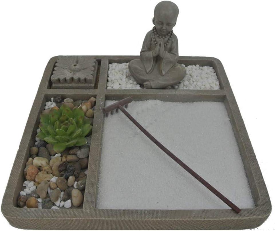SDBRKYH La meditación Zen Mesa de Arena, Buda Jardín Zen Holder Escultura Vela Mini jardín Conjunto Decorativo: Amazon.es: Hogar