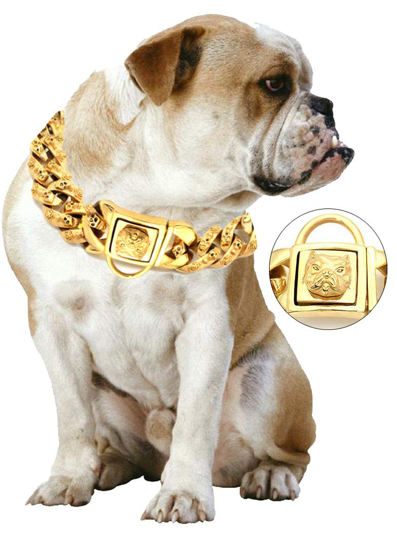 Yasover Gold Chain Dog Collar - Pet Training Collars, Stainless Steel Heavy Duty Cuban Link, Necklace Choke for Bully Pitbull,Bulldog, Mastiff, Big Breeds(Width 1.3 inch) by Yasover