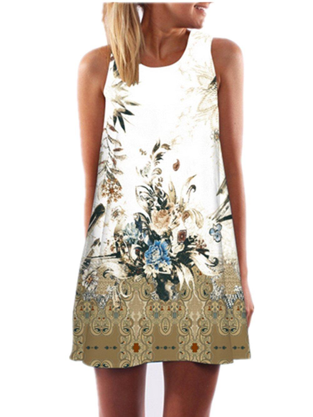 SRYSHKR 2018 Women's Summer Sleeveless Damask Floral Print Casual Loose T-Shirt Dress (M, White)