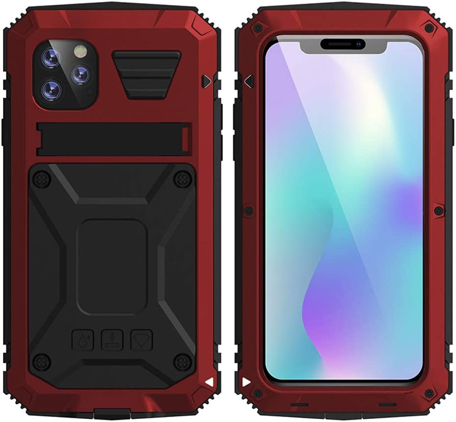 HATA iPhone 11 Metal Military Heavy Duty case, iPhone 11 Rugged Drop Tested Case with Built-in Screen Protector Kickstand Sturdy Full Body Cover (Red, iPhone 11)