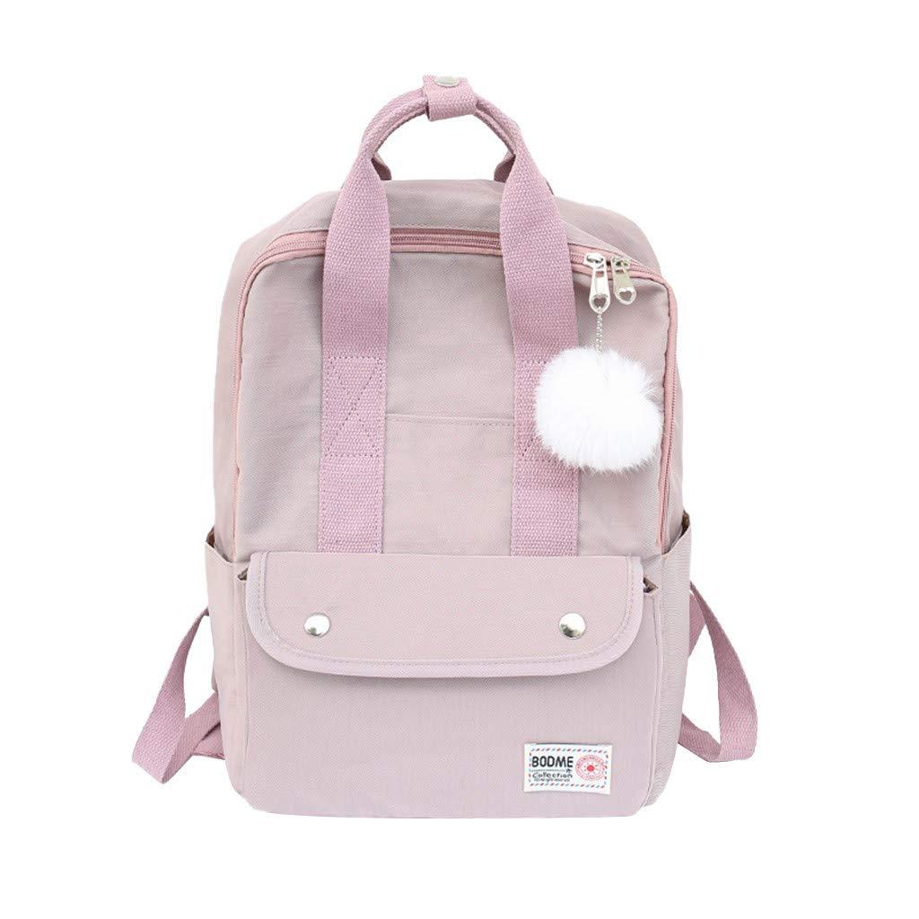 Xlala Mens Womens Nylon Backpack Casual Zipper Waterproof Large Capacity Solid Color Schoolbag Single Shoulder Bags Laptop Packages Travel Packs Handbags (Beige) by Xlala