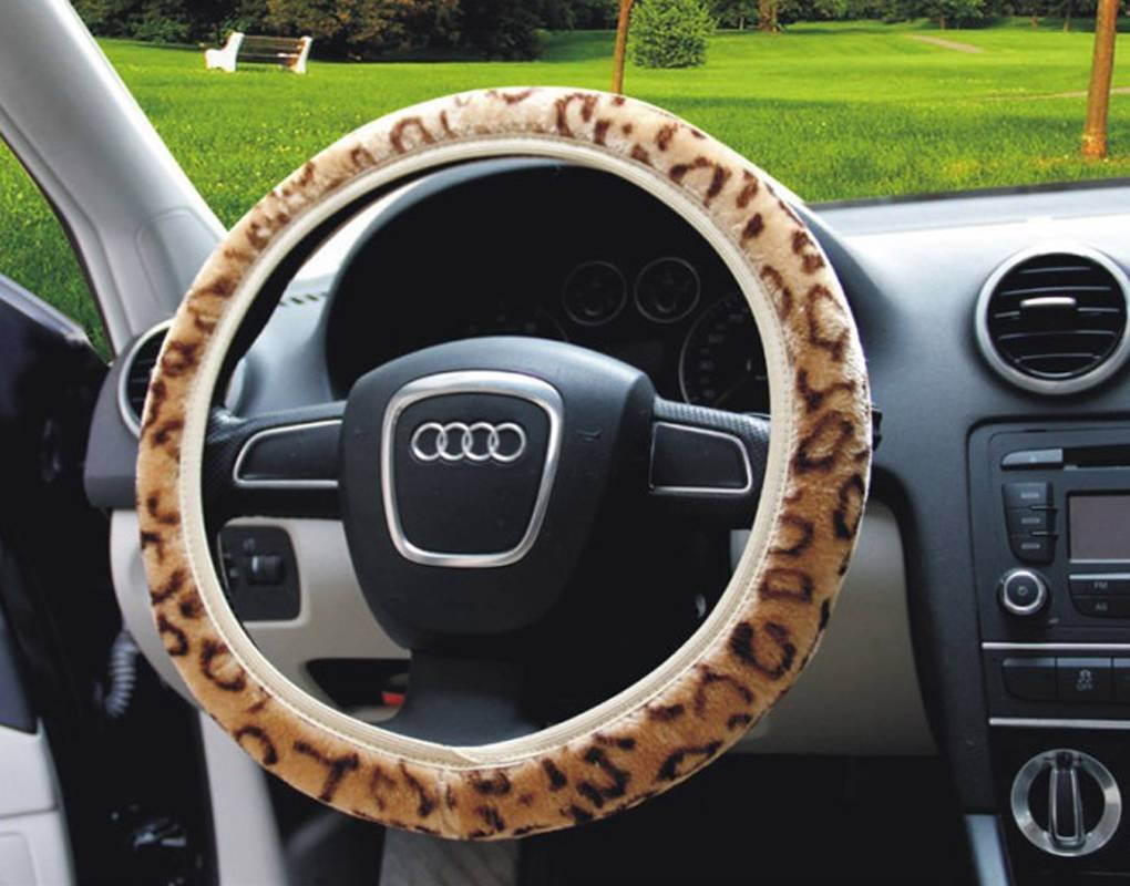 Greenery* New Fashion Leopard Print Soft Decorative Plush Universal Steering Wheel Cover--Coffee