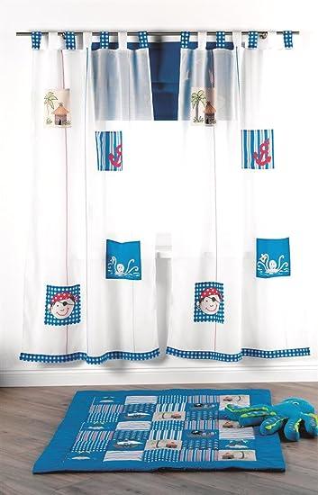4Uniq Kinder Vorhang Gardine Dekoschal Pirat blau für Kinderzimmer