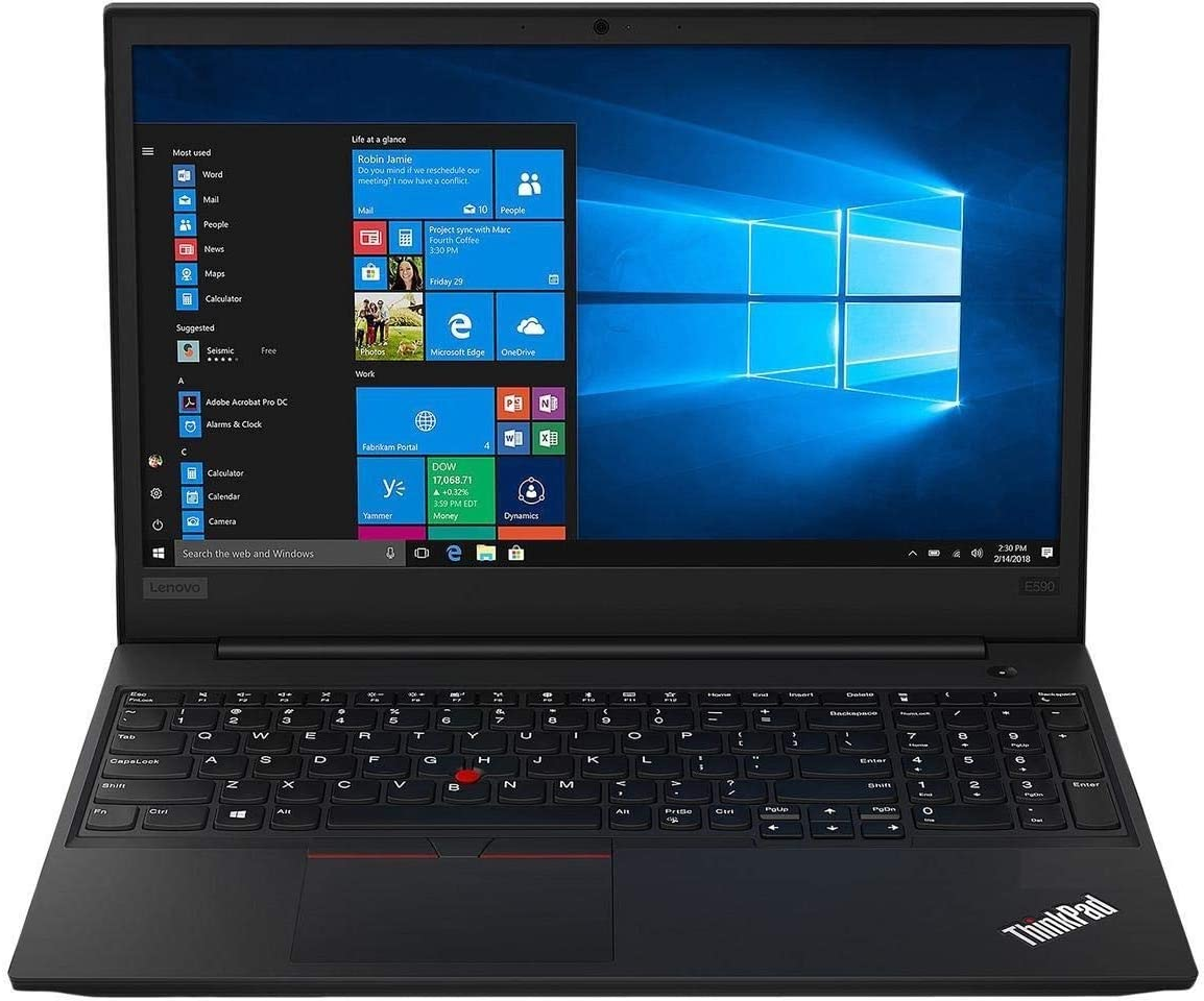 "2019 Lenovo Thinkpad E590 15.6"" HD Business Laptop (Intel Quad Core i5-8265U, 32GB DDR4 RAM , 256GB Toshiba PCIe NVMe M.2 SSD + 2TB HDD) Type-C, HDMI, Ethernet, Webcam, Windows 10 Pro"
