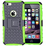 iPhone 6S Case,Armor Heavy Duty Protection Rugged Dual Layer Hybrid Shockproof Case Protective Cover for Apple iPhone 6 6S 4.7 Inch with Built-in Kickstand (Green)